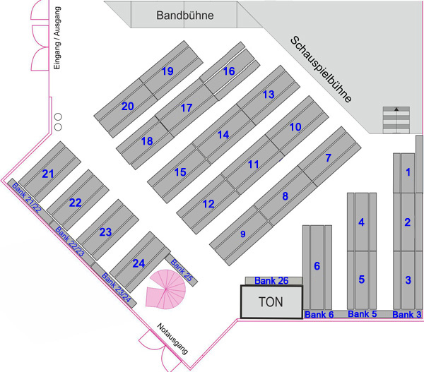 Der Saalplan von Fatal Banal im BÜZE Köln-Ehrenfeld